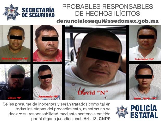 Aprehenden secretaría de seguridad y FGJEM a siete personas probablemente implicadas en asalto a Bansefi y homicidio de un policía municipal