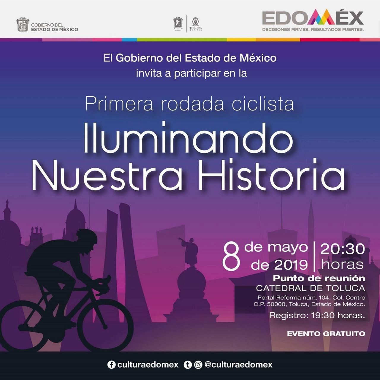 Organizan rodada nocturna en Toluca para disfrutar monumentos y edificios históricos