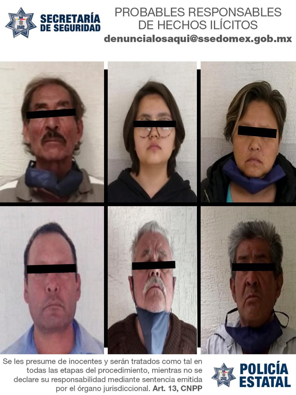 Detiene secretaría de seguridad a seis probables delincuentes que descargaban abarrotes de un camión con reporte de robo
