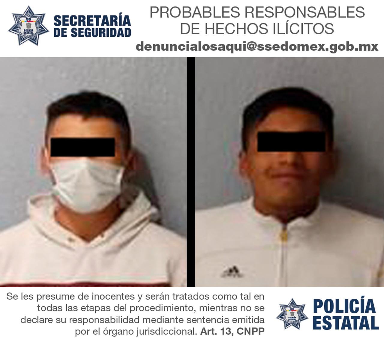 Detienen en flagrancia a dos hombres probables responsables en el robo con violencia de un vehículo