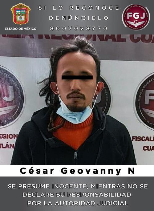 Asegura FGJEM en Cuautitlán Izcalli a sujeto investigado por el delito de extorsión agravada