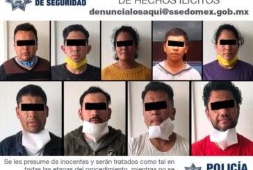 Acción coordinada permite a secretaría de seguridad detener a nueve presuntos integrantes de una banda delictiva dedicada al robo de transporte de carga