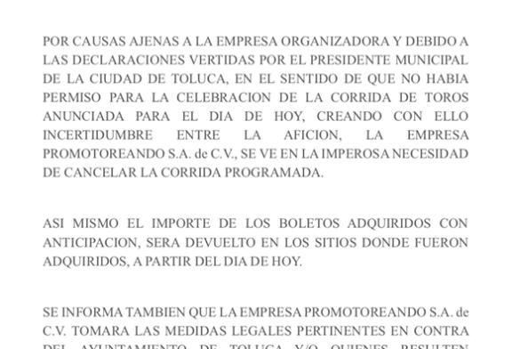 Amenaza la empresa que organizaba la corrida de toros con demandar al ayuntamiento.