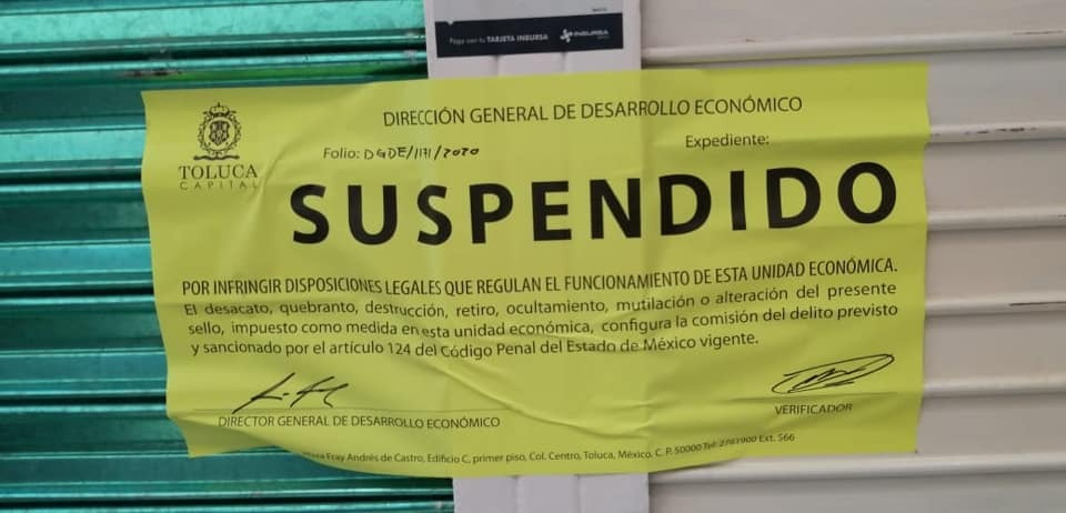 Suspende Toluca siete locales por incumplir disposiciones sanitarias