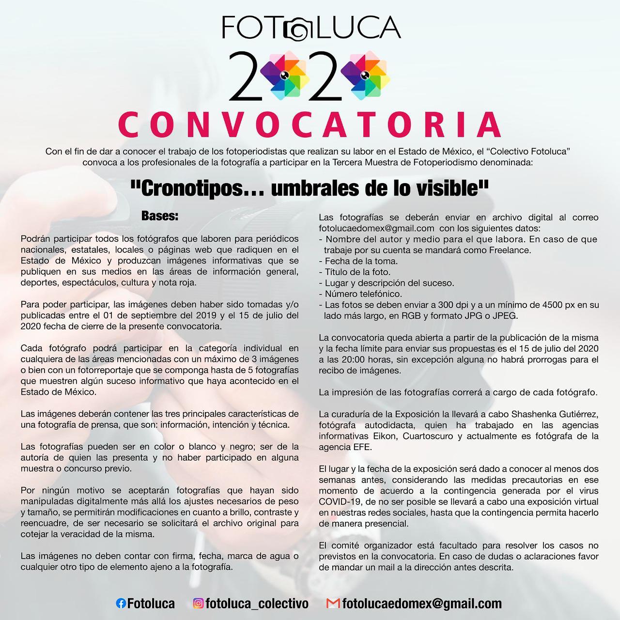 Colectivo Fotoluca lanza convocatoria 2020