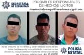 Policías de la secretaría de seguridad detienen a tres sujetos posibles responsables de robo con violencia de un vehículo