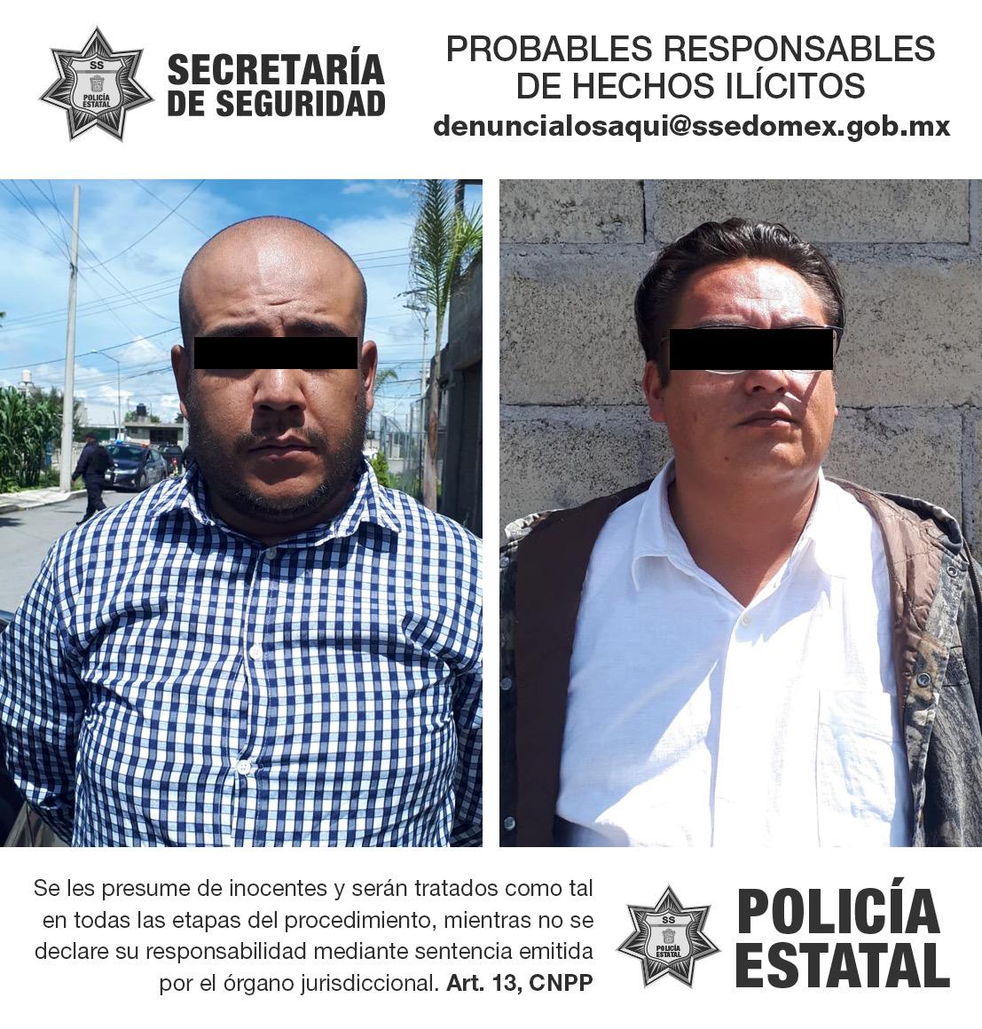 Secretaría de seguridad y policía municipal detienen a dos posibles implicados en el delito de extorsión