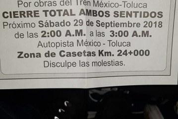 Anuncian cierre total de la autopista México Toluca