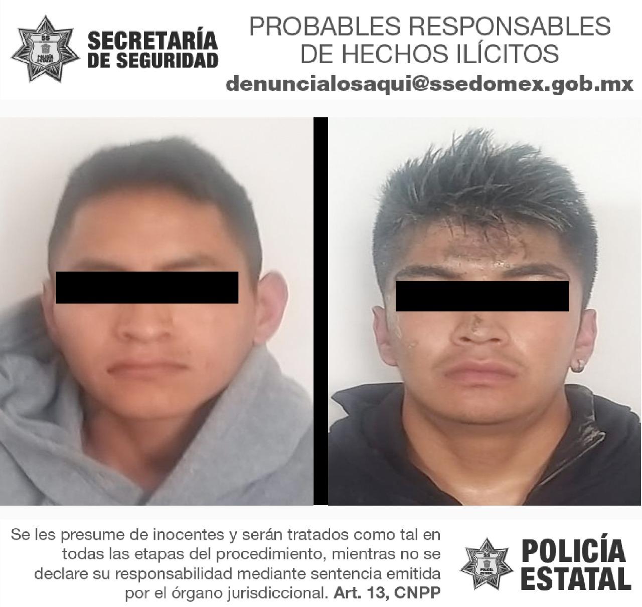 Tras persecución secretaría de seguridad detiene a dos posibles responsables del delito de homicidio