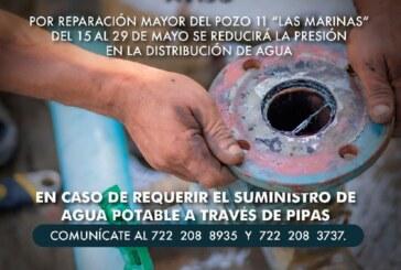 Por reparación urgente de pozo disminuirá la presión de agua en colonia de Metepec