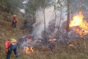 Enfrentan voluntarios incendio en Texcoco