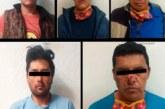 Detienen a cinco hombres probables responsables del delito de robo con violencia