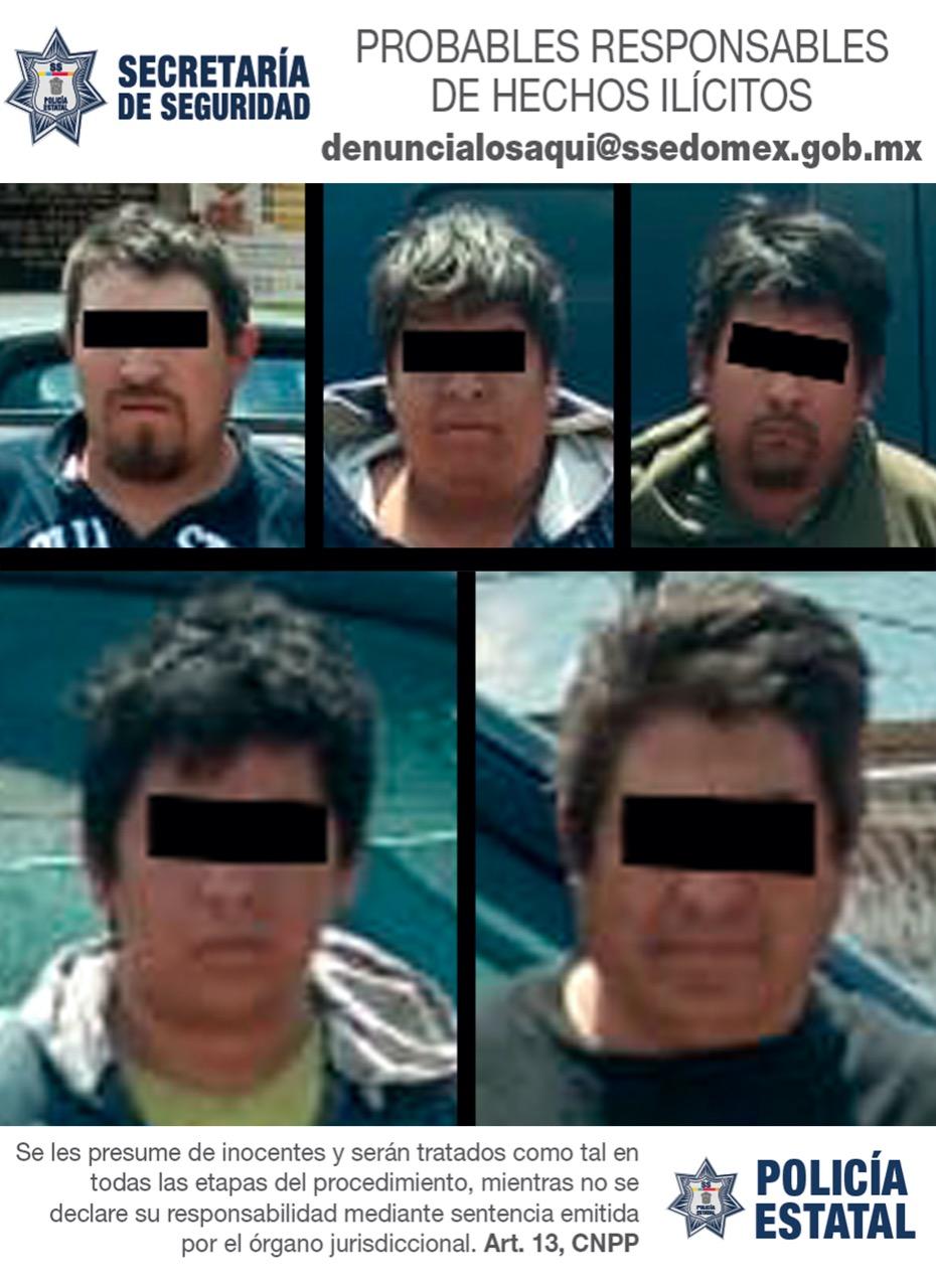 Detienen a cinco probables integrantes de una organización dedicada al robo de vehículos en el valle de Toluca