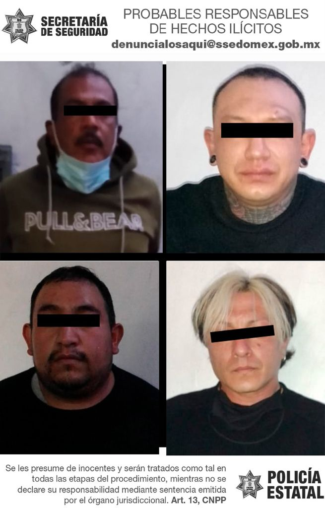 Capturan a cuatro posibles implicados en los delitos de portación de arma de fuego y contra la salud