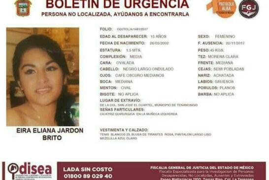 Desaparece una jovencita más en el municipio de Tenancingo