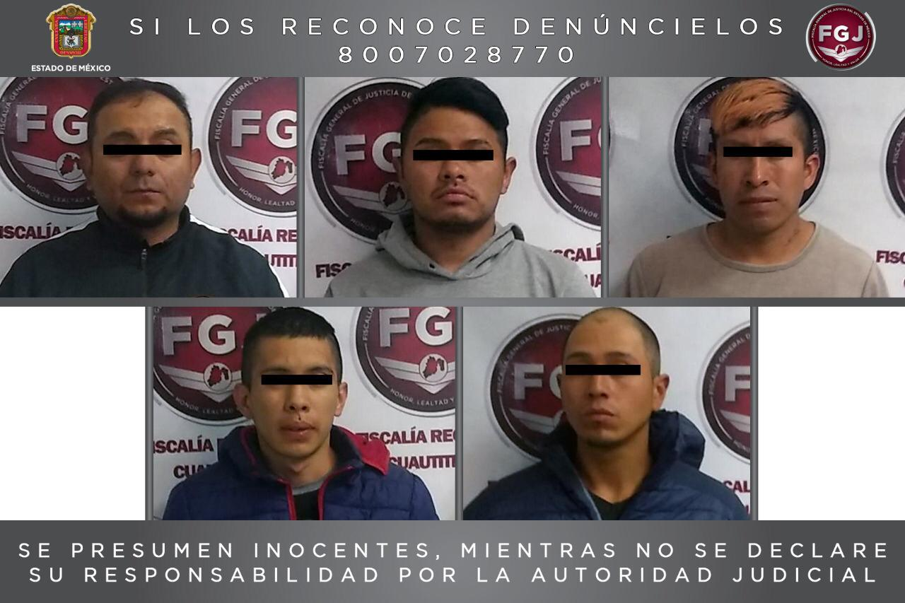 Procesan a cinco sujetos por un robo con violencia en Huehuetoca