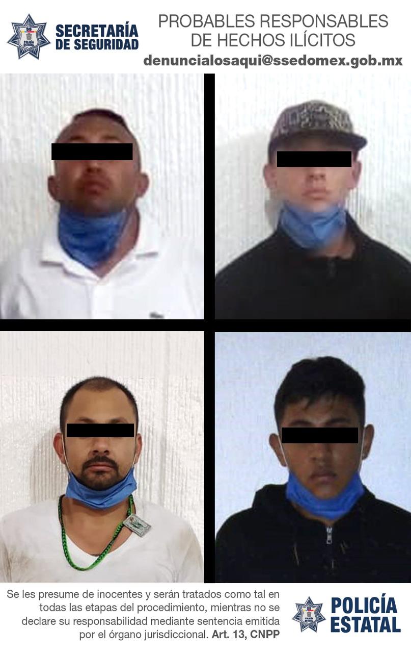 Detienen a cuatro sujetos probables partícipes en el robo con violencia.