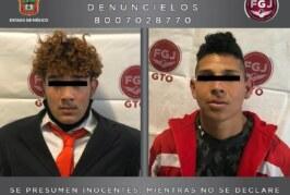 Asegura FGJEM a dos sujetos, uno de ellos de nacionalidad hondureña, investigados por extorsión