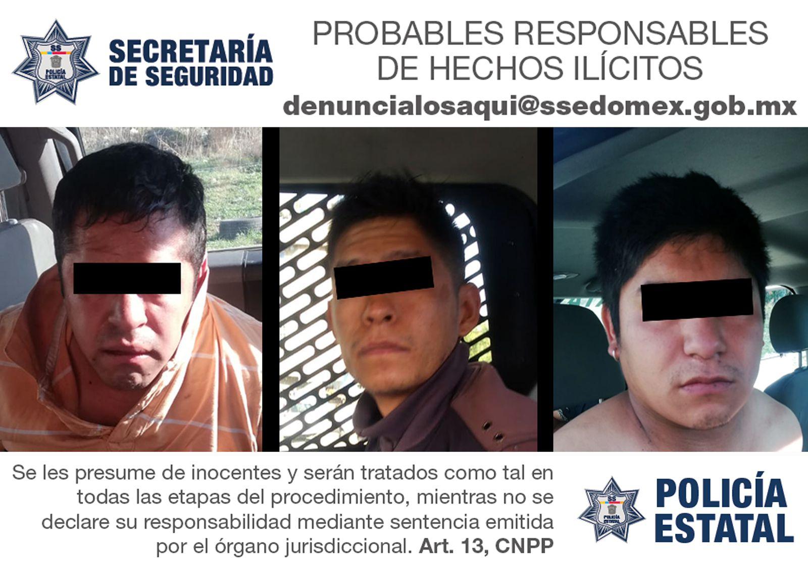 Secretaría de seguridad detiene en flagrancia a tres probables implicados del delito de robo equiparado de vehículo