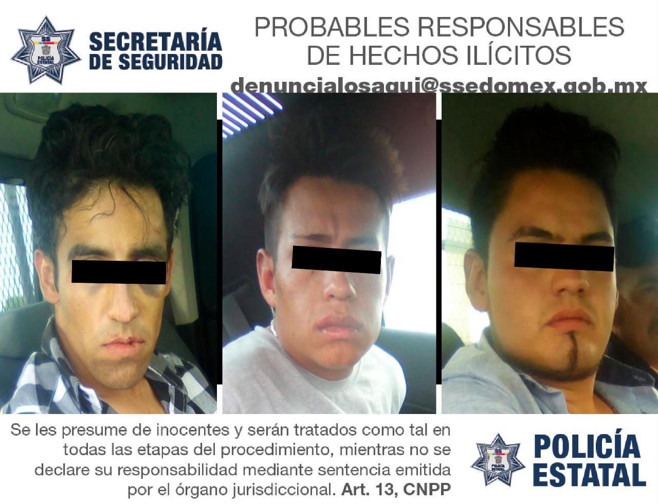 Detienen a tres sujetos por delitos de alto impacto