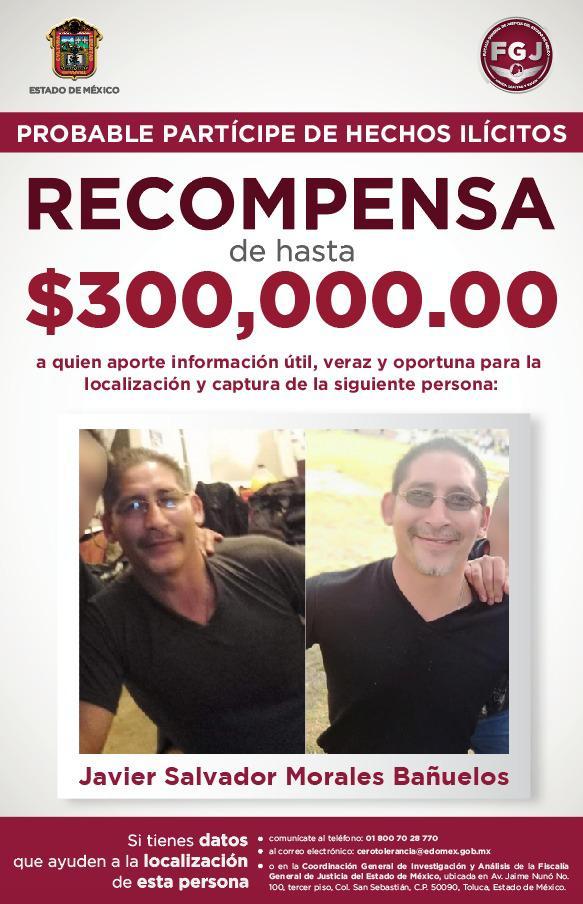 Ofrecen recompensa de hasta 300 mil pesos para localizar y detener a sujeto