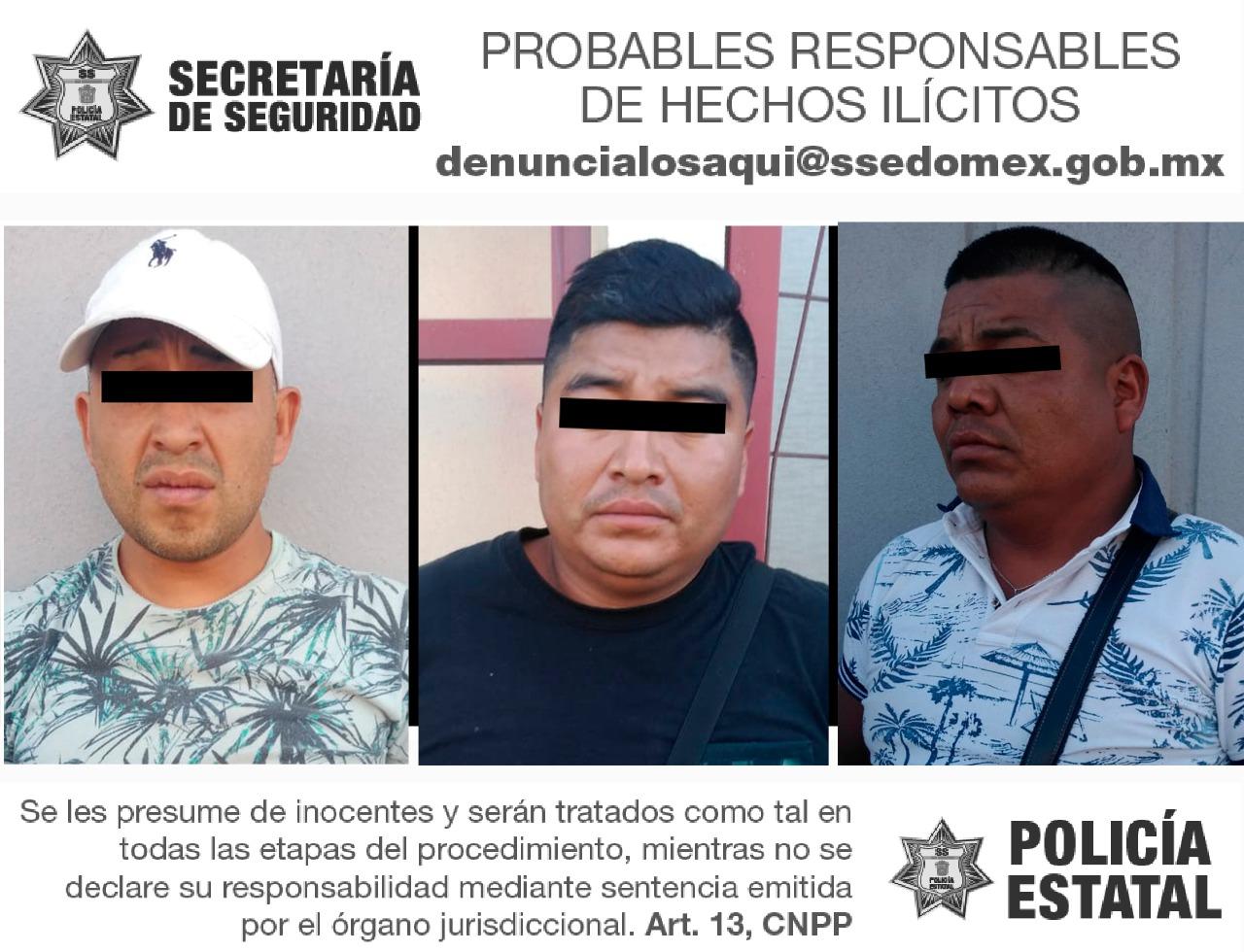 Detienen a tres probables responsables del delito de portación de arma de fuego