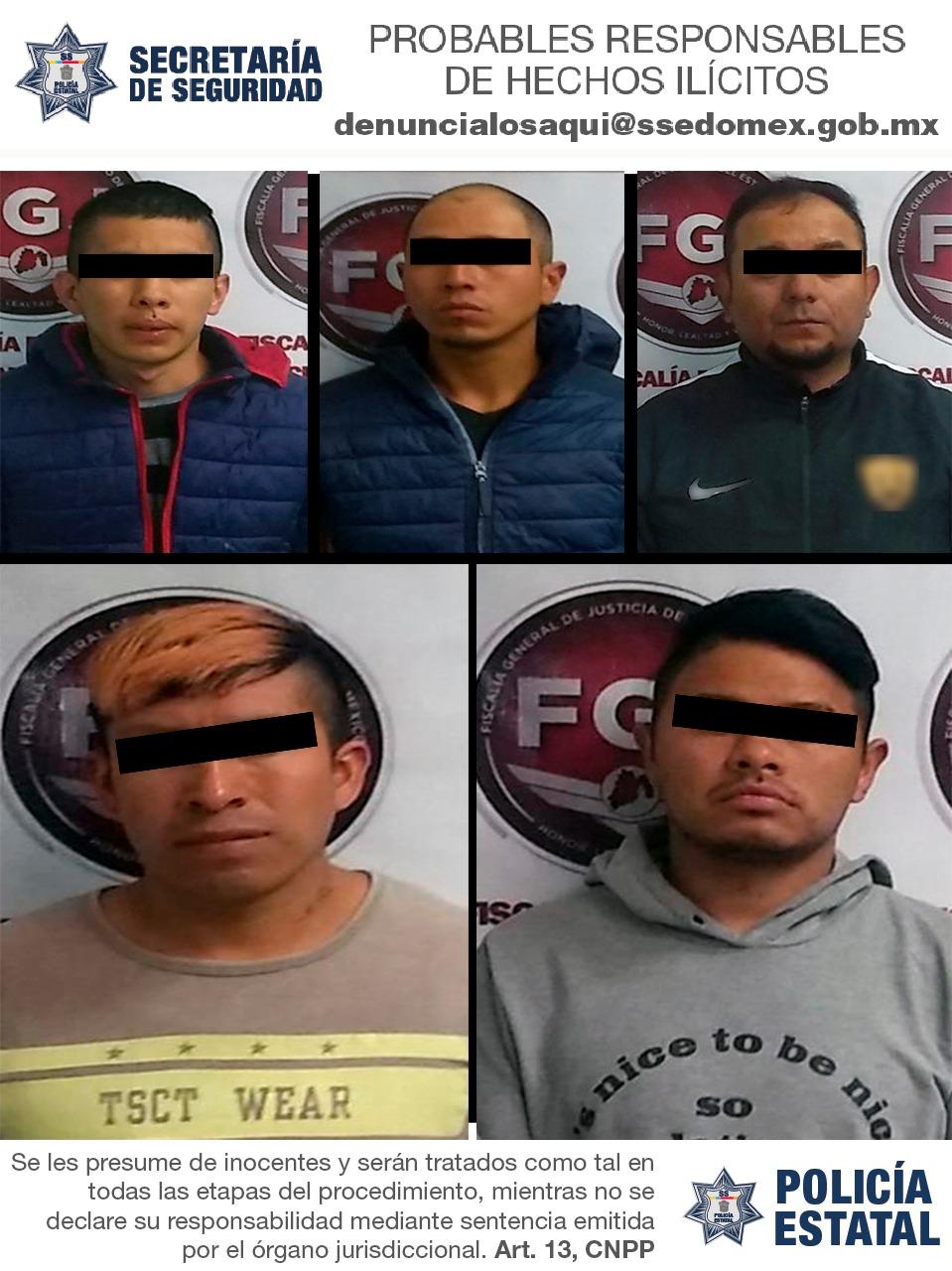 Secretaría de Seguridad detiene a cinco sujetos probables responsables de robo con violencia