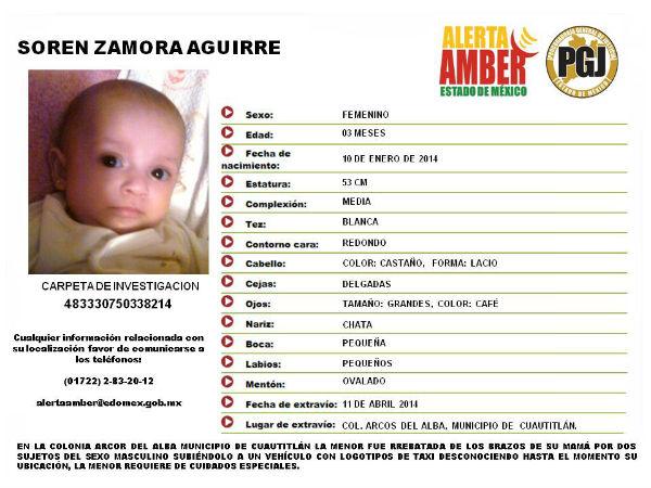 Alerta Amber: Soren Zamora Aguirre