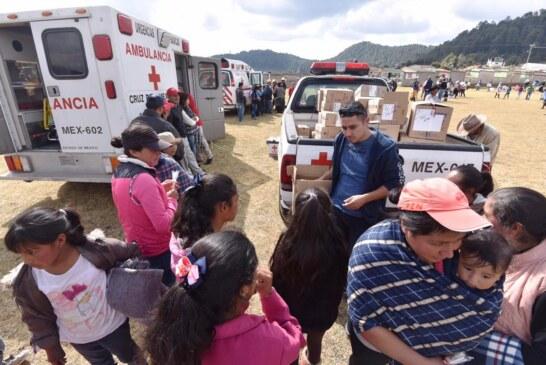 Apoya Cruz Roja Mexicana a los habitantes de comunidades en extrema pobreza ante bajas temperaturas