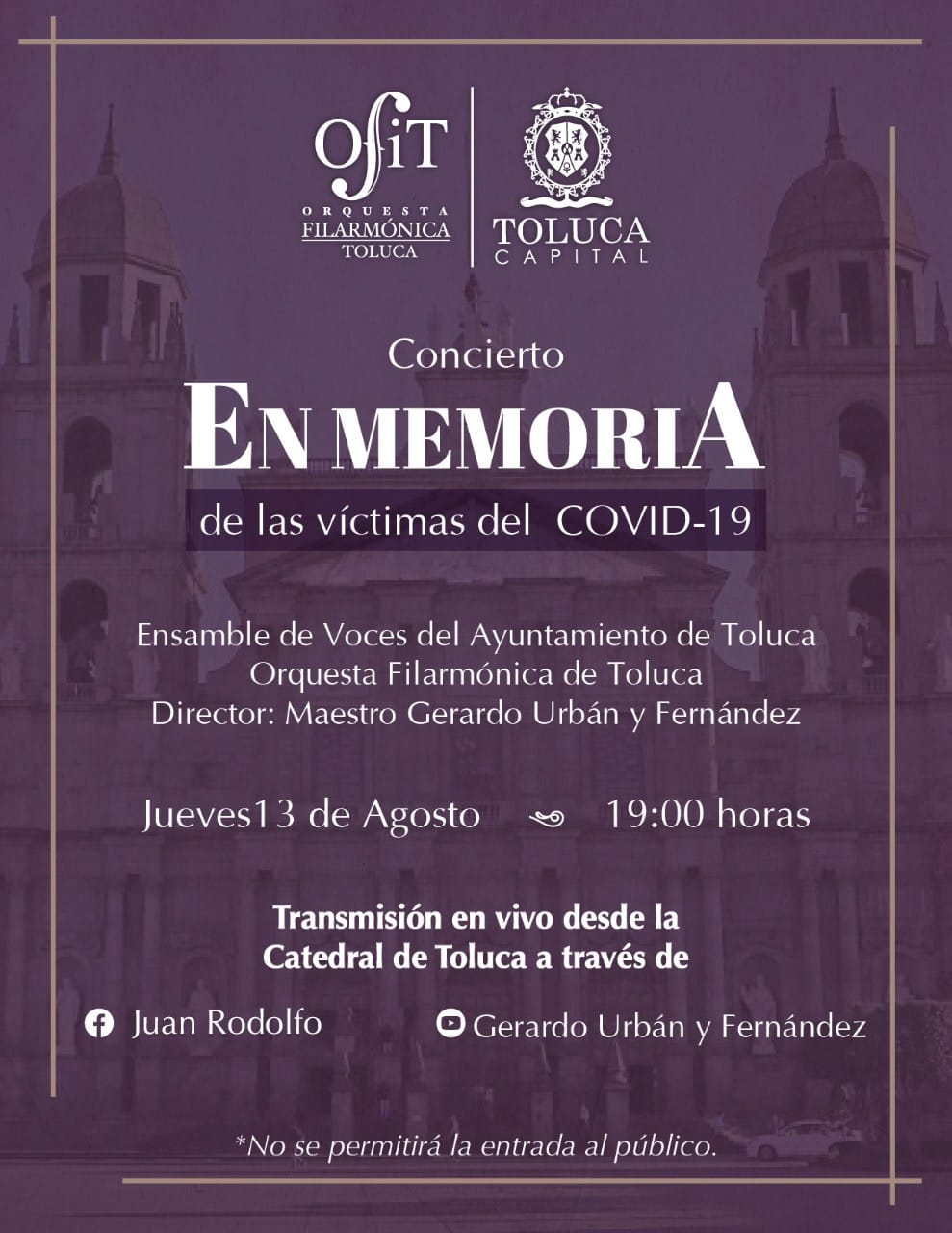 Ofrecerá OFiT concierto en memoria de víctimas de la pandemia