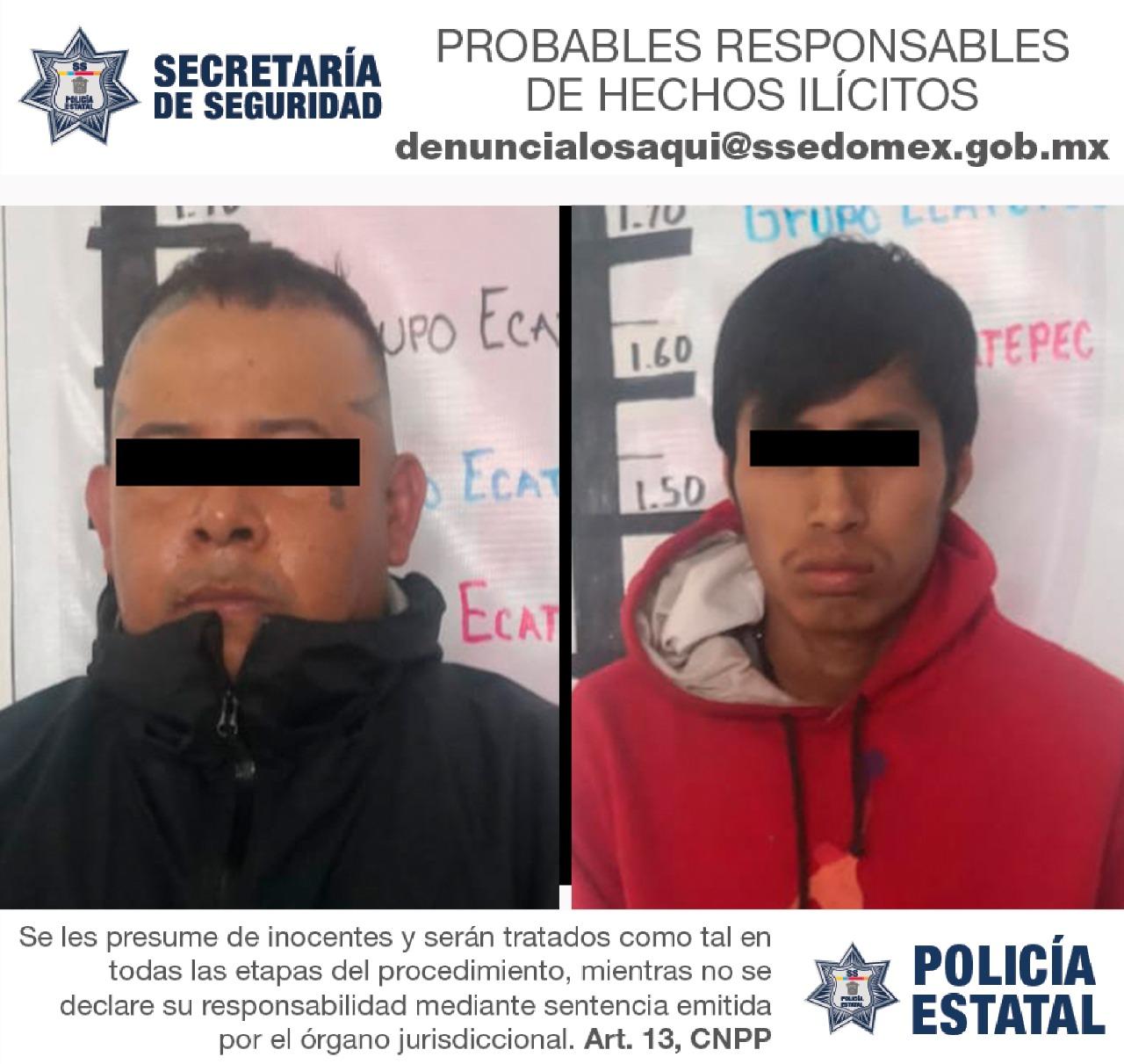 Detienen en flagrancia a dos probables responsables de robo con violencia a transporte público