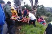 Policías de la secretaría de seguridad brindan apoyo a lesionado por accidente vehicular