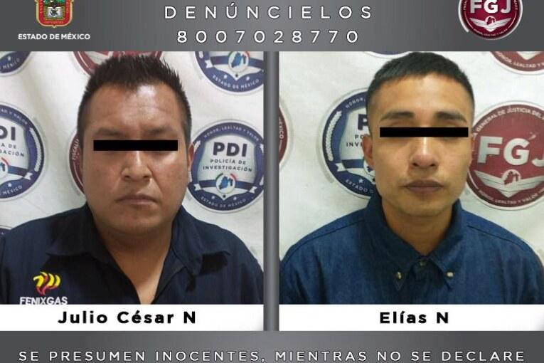 Detienen a dos sujetos investigados por un robo de 760 mil pesos en agravio de una empresa gasera en Naucalpan