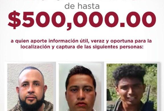 Ofrecen recompensa de hasta 500 mil pesos para la ubicación y detención de tres probables partícipes de hechos delictivos ocurridos en la región sur de la entidad