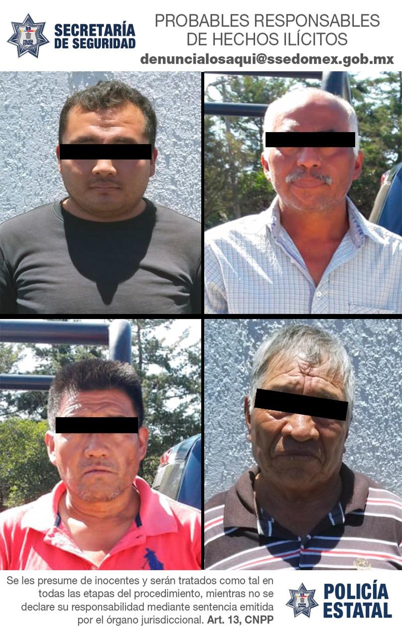 Policías de la secretaría de seguridad detienen en flagrancia a cuatro posibles responsables del delito de robo