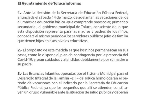 Concederá Toluca, del 20 de marzo al 20 de abril, días hábiles a servidores públicos con hijos en educación básica para que puedan cuidar de ellos en casa