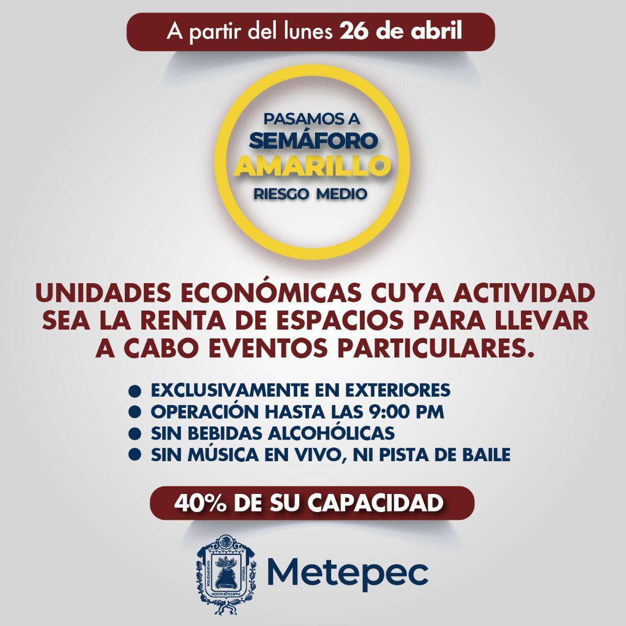 Cumplen en Metepec con las disposiciones establecidas en el semáforo de contagio de color amarillo
