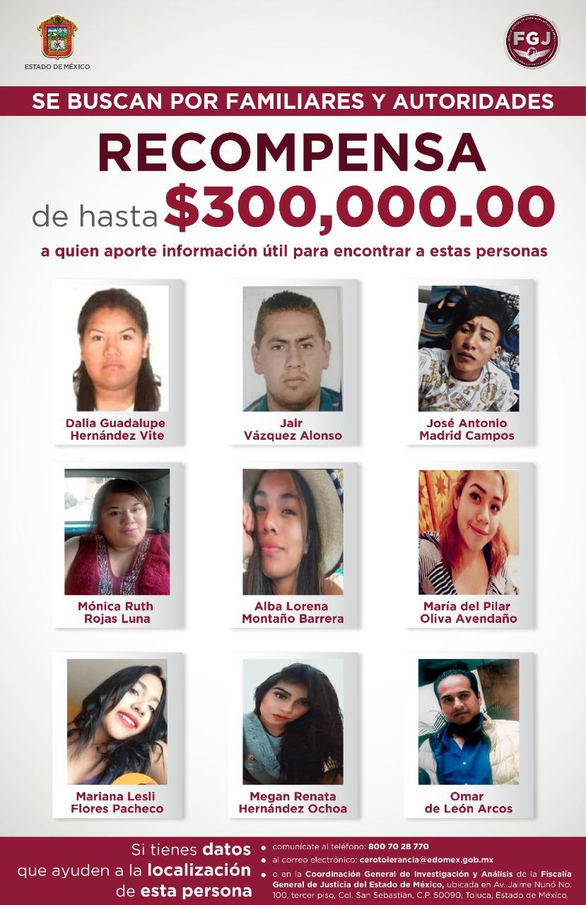 Ofrecen recompensa de hasta 300 mil pesos para localizar a nueve personas desaparecidas.