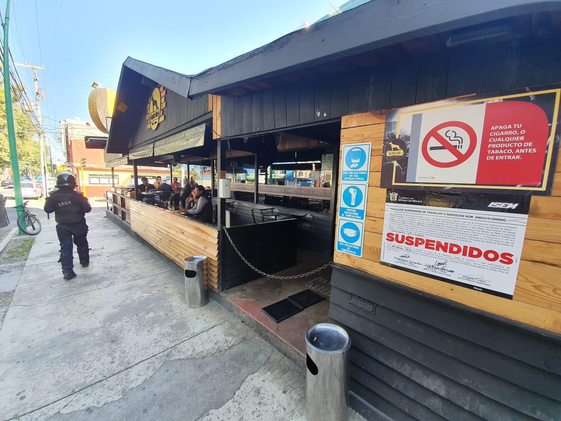 Suspenden restaurantes-bar en Toluca por rebasar aforo permitido