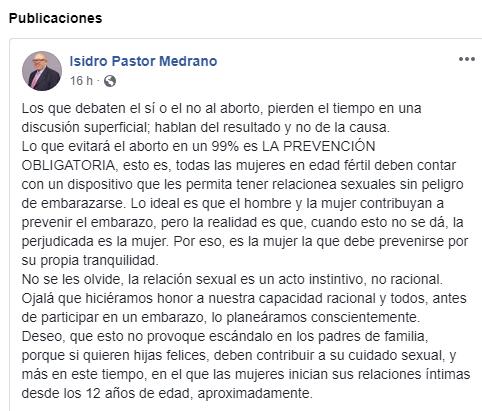 Propone Isidro Pastor que a las mujeres se les coloque dispositivo contra embarazos a fuerzas