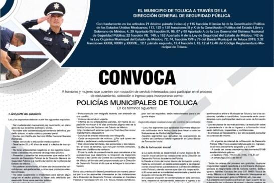 Continúa abierta la convocatoria para Policías Municipales de Toluca